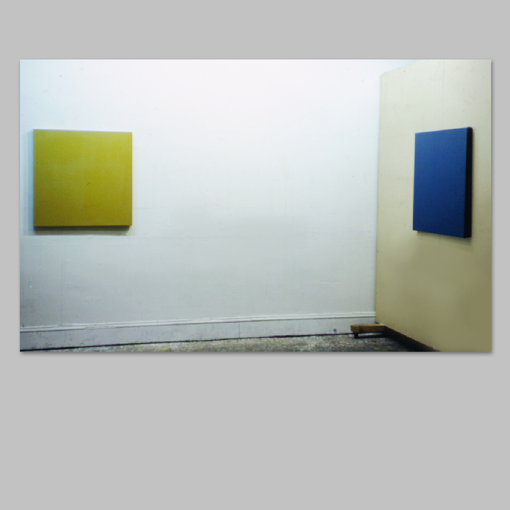 """Robert Huot - Ochre and Cerulean / 1966 / Acrylic on Canvas / 33"""" x 33"""" (2 Parts)"""